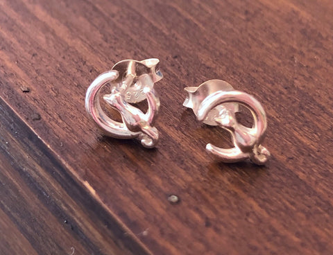 925 Sterling Silver Cat in the Moon Earrings