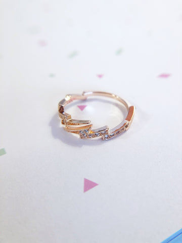 Rose Gold Lightning Bolt Ring