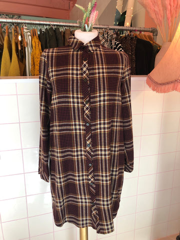 Plaid Plum Shirt Dress
