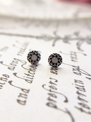 Teeny Circle Stone Earrings