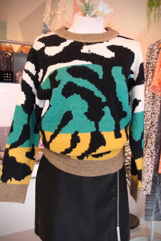 Oversized Animal Print Jumper