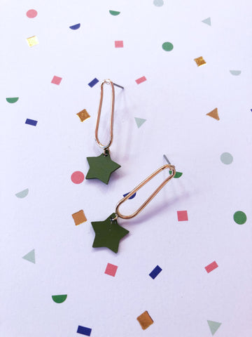 Little Green Stars Earrings