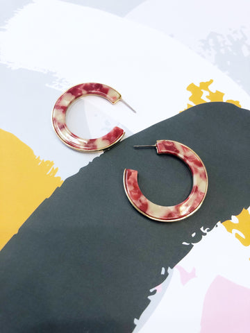 Raspberry Ripple Half Hoop Earrings