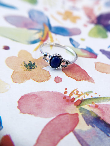 Deep Blue Stone Circles Ring