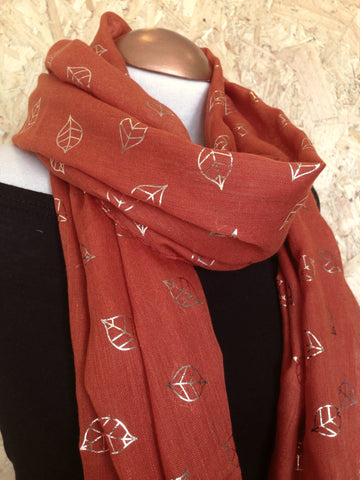 Rust Metallic Leaves Scarf