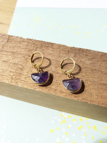 Amethyst Huggie Hoop Earrings