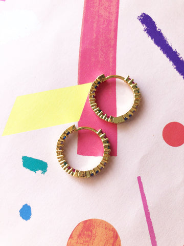 Rainbow Jewel Hoops