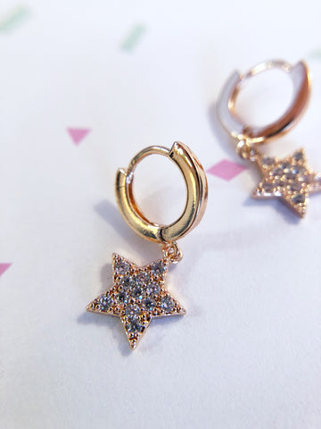 Rose Gold Crystal Star Drop Earrings