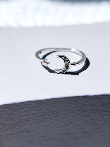 Crescent Moon And Mini Star Ring