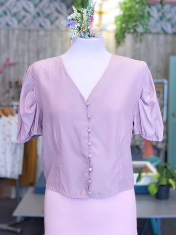 Lilac Button Down Crop Top