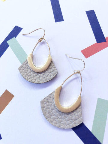 Silver Grey Faux Leather Earrings
