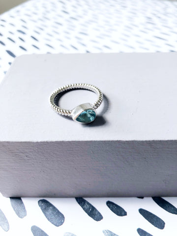 Ice Blue Jewel Teardrop Ring