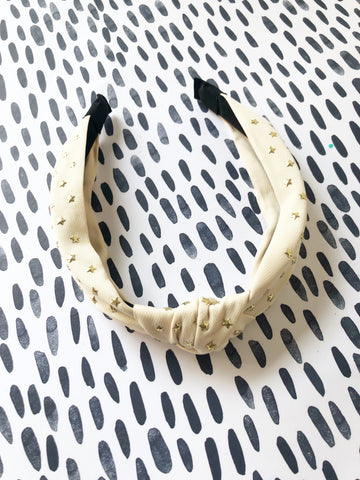 Cream Stars Knot Headband