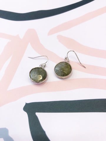 Stone Green Quartz Drop Earrings