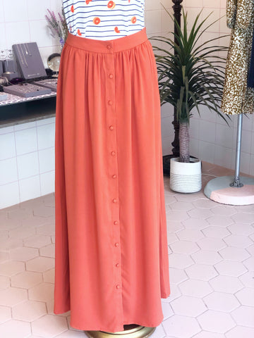Rust Button Down Maxi Skirt