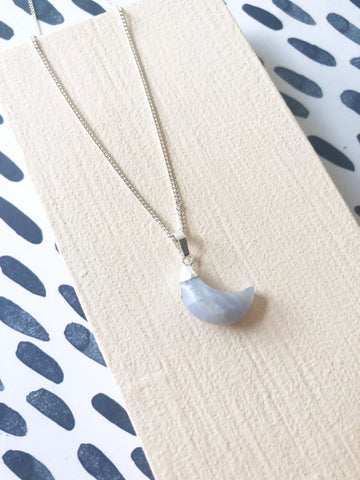 Blue Chalcedony Moon Necklace