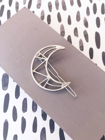 Silver Cut Out Crescent Moon Hairclip