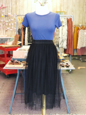 Black Tulle Polka Dot Skirt