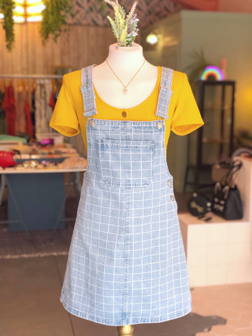 Denim Grid Pinafore