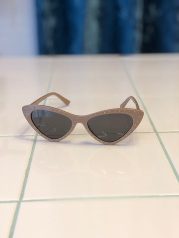 Studded Taupe Cat Eye Sunglasses