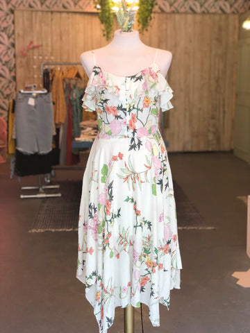 White Floral Handkerchief Dress