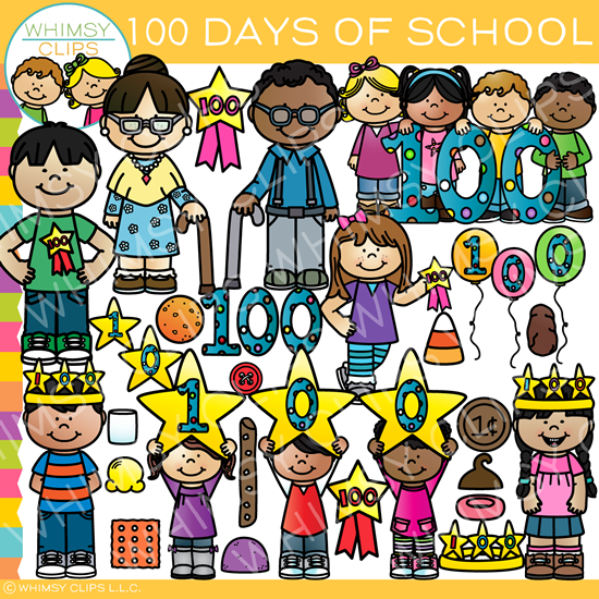 one hundred days of school clip art images illustrations rh whimsyclips com 100 Day Clip Art happy 100th day of school clipart