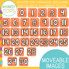 Simple Number Tiles Clip Art -  BOTTOMLESS Bundle - Moveable Images