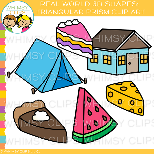 3D Real World Triangular Prism Shape Clip Art