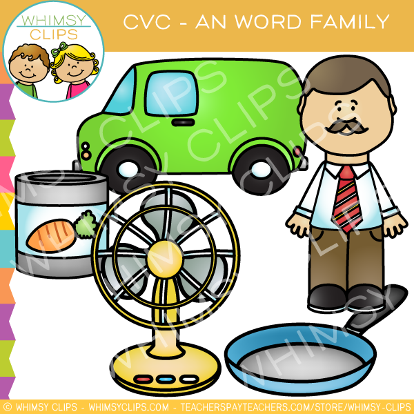 CVC -an Word Family Clip Art {Volume One}