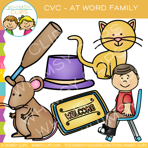 CVC -at Word Family Clip Art {Volume One}