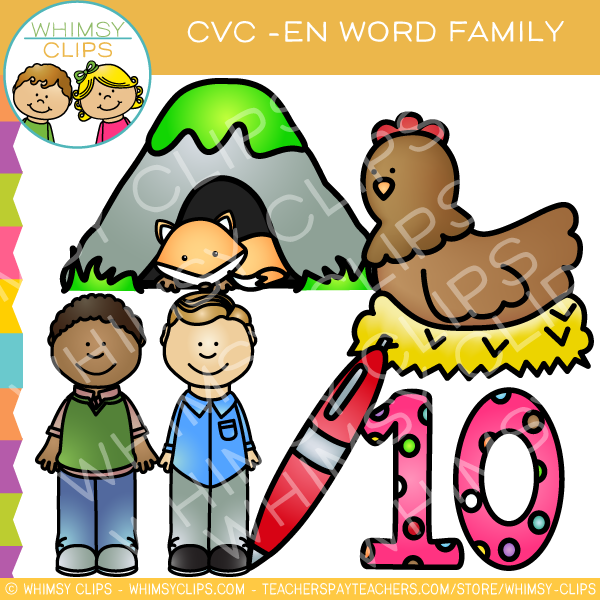 CVC -en Word Family Clip Art {Volume One}