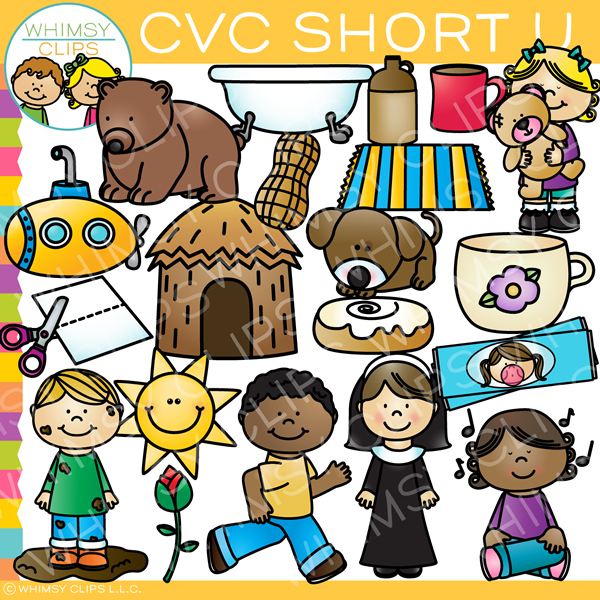 CVC Short U Word Family Clip Art {Volume One}