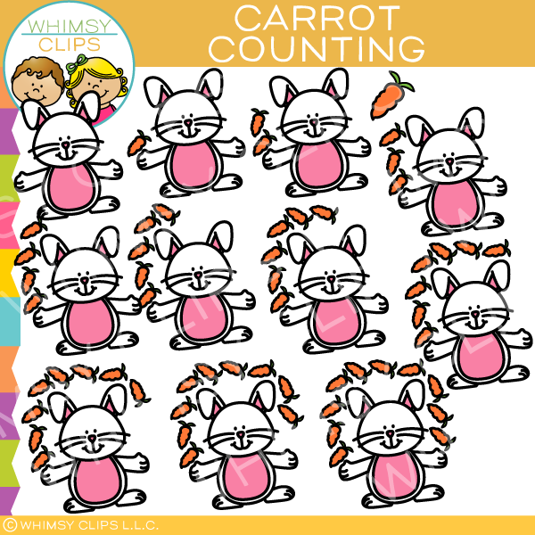 Bunny and Carrot Counting Clip Art