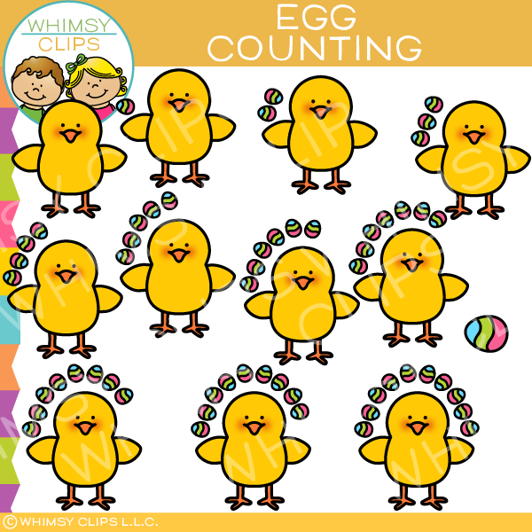 Chick and Easter Egg Counting Clip Art