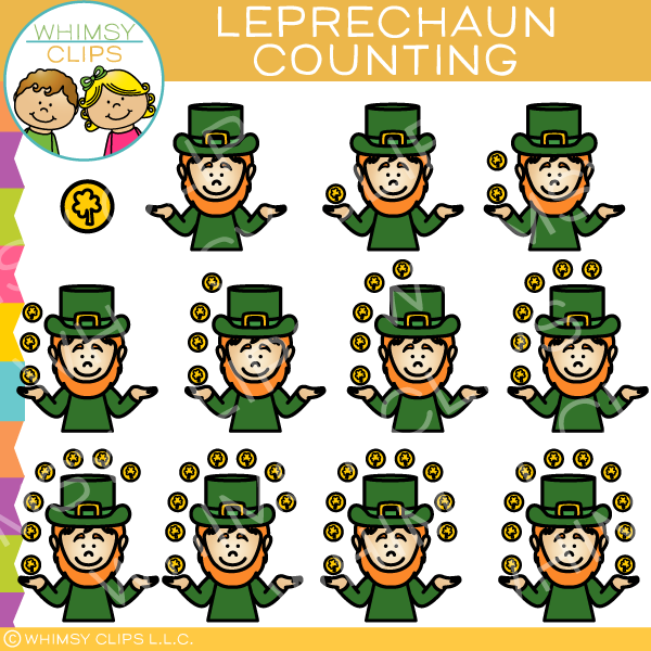 Leprechaun and Coins Counting Clip Art
