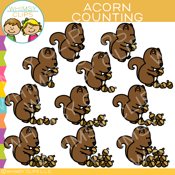 Squirrel and Acorn Counting Clip Art
