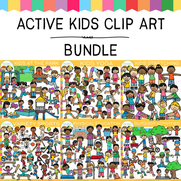 Active Kids Clip Art GROWING Bundle