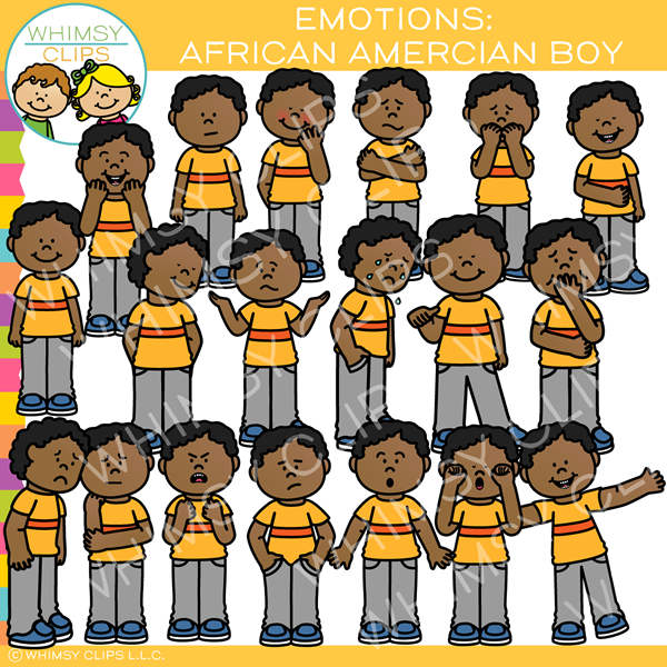 African American Boy Emotions Clip Art