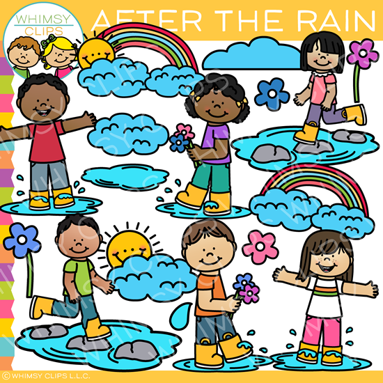 Kids After the Rain Clip Art