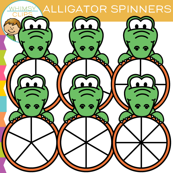 Cute Alligator Spinners Clip Art