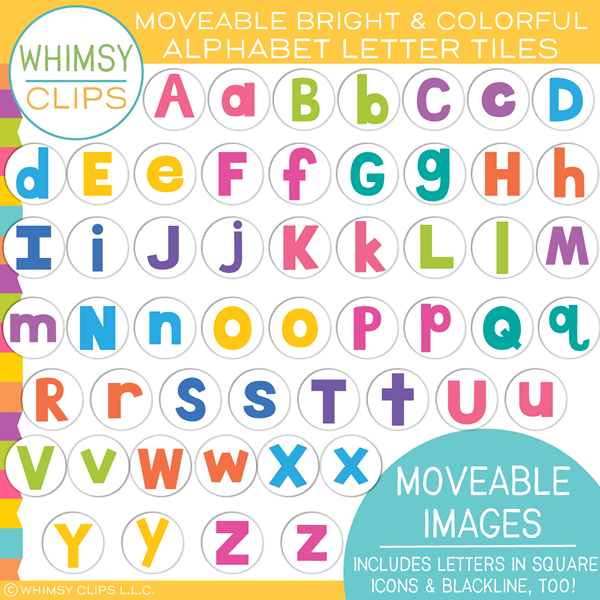 Bright and Colorful Alphabet Letter Tiles MOVEABLE Clip Art