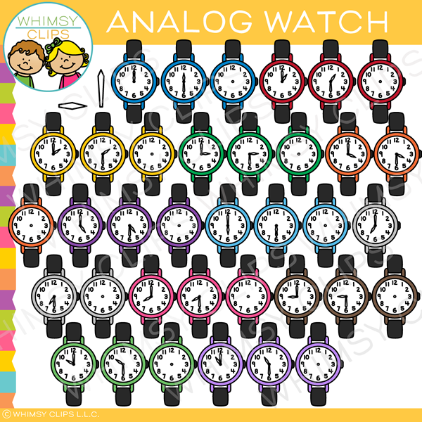 Colorful Analog Watch Clip Art