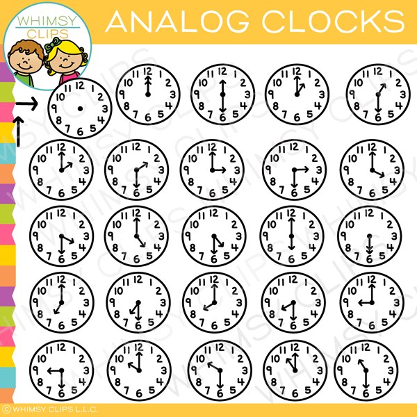 Simple Analog Clocks Clip Art