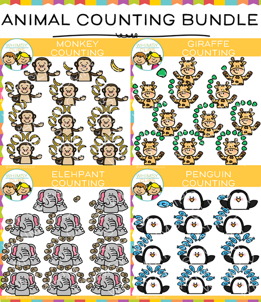 Zoo Animal Counting Clip Art Bundle