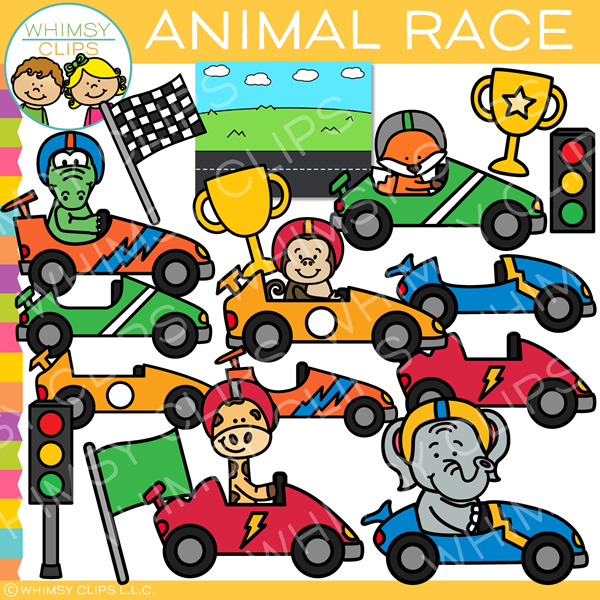 Cute Animal Racing Clip Art
