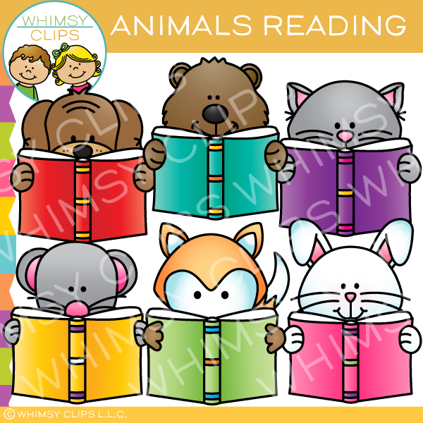 Cute and Colorful Animals Reading Clip Art
