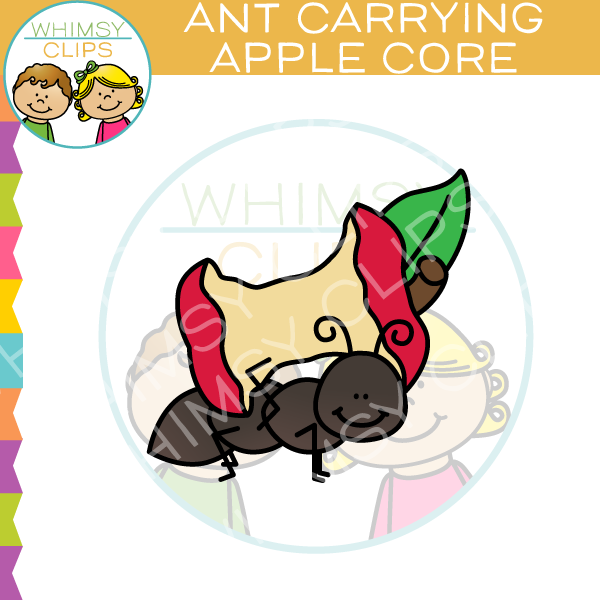 Ant Carrying An Apple Core Clip Art