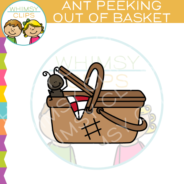 Ant Peeking Out Of Basket Clip Art