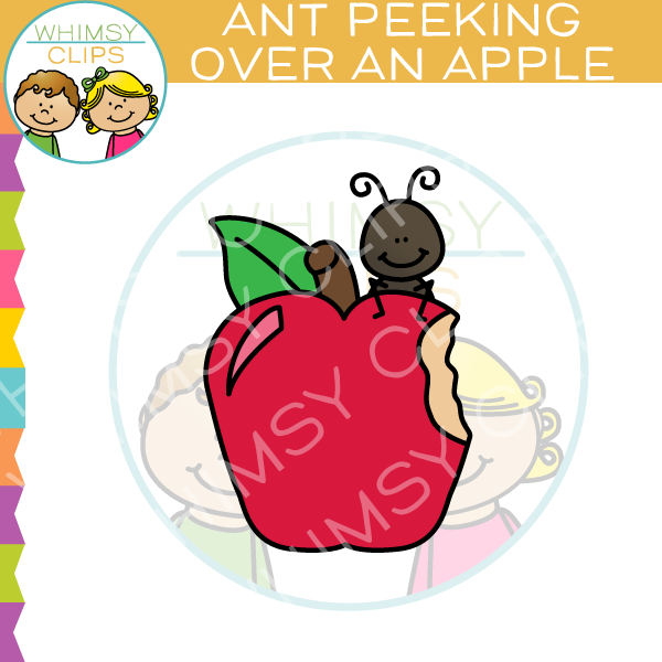 Ant Peeking Over Apple Clip Art