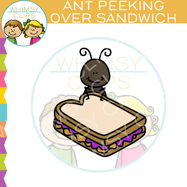Ant Peeking Over Sandwich Clip Art
